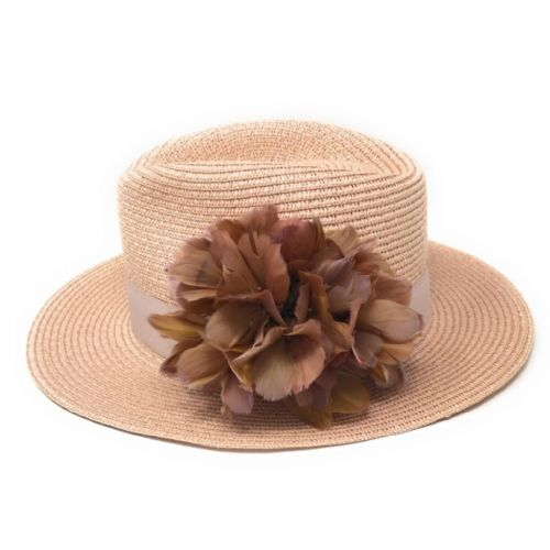 Ladies Pink Summer Fedora Hat with Feather Flower - Bibury